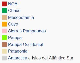 Como se llaman las regiones geográficas de Argentina