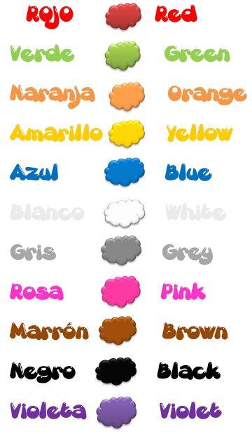 Nombre de los colores en ingles