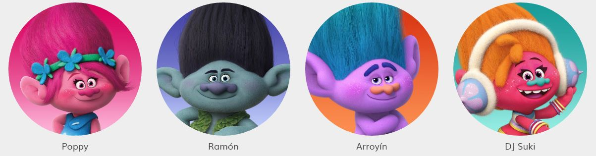 Como se llaman los personajes de Trolls